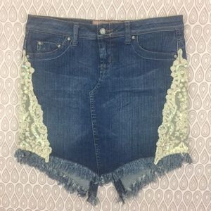 Candies Girls Denim Lace Skirt Junior Size 5 E69
